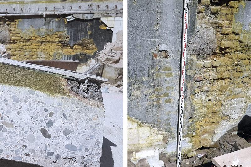 Chromatgelbe Ausblühung Mauerwerk Grenzwand